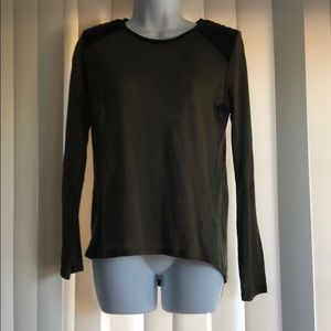 Zara Long Sleeve Shirt With Pleather Shoulders S